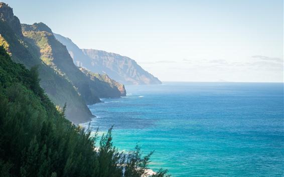 Wallpaper Hawaii, sea, mountains, sunshine