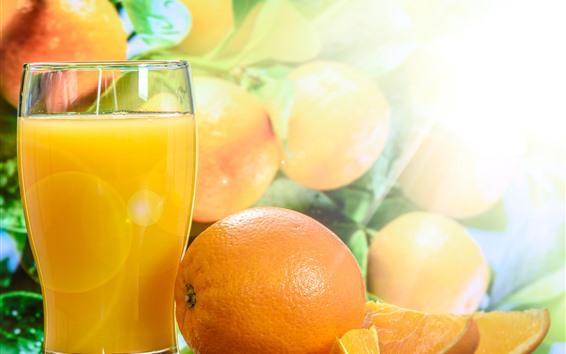 Wallpaper Juice, oranges, glass cup, glare