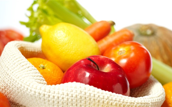 Wallpaper Lemon, apple, tomato, orange