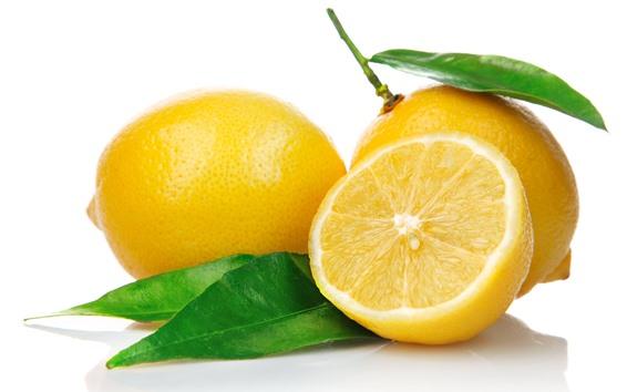 Обои Лимон, фрукты, нарезка, зеленый лист, белый фон
