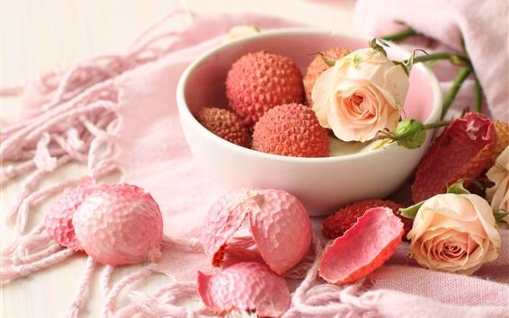 Wallpaper Litchi and rose, petals