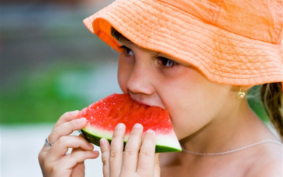 Wallpaper Little girl eat watermelon