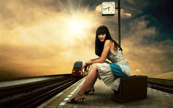 Wallpaper Long hair girl, rail station, suitcase, clock, tram