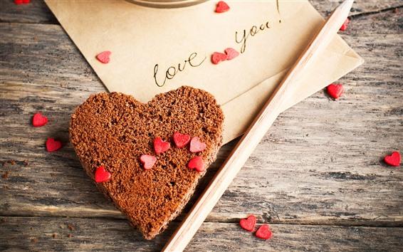 Wallpaper Love heart, chocolate cake, letter