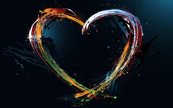 Wallpaper Love heart, colorful paint, creative