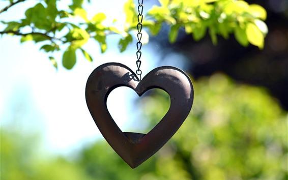 Wallpaper Love heart, decoration, chain