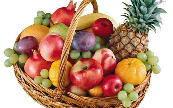Wallpaper Many different fruits, apples, peach, grapes, pineapple, oranges, basket