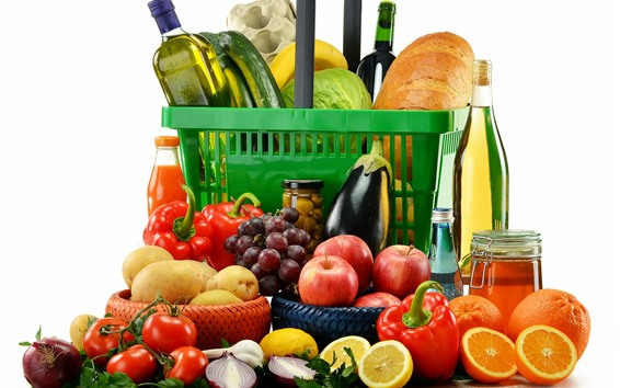 Fondos de pantalla Muchas frutas y verduras, vino, fondo blanco.