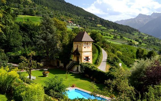 Fond d'écran Montagnes, campagne, pente, maison, piscine, vert