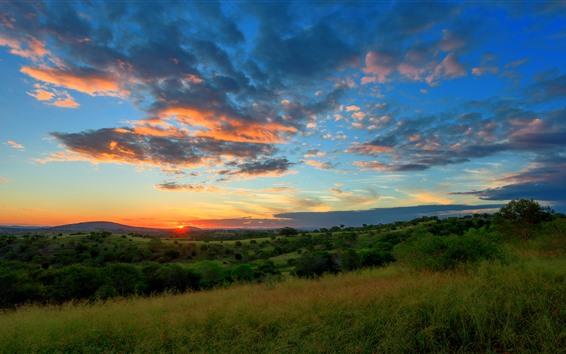 Fond d'écran Nature, coucher de soleil, arbres, pente, nuages, ciel
