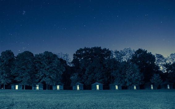 Fond d'écran Nuit, cabanes, arbres, étoilé, ciel