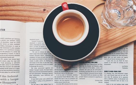 Papéis de Parede Uma xícara de café, livro, palavras