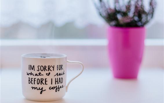 Papéis de Parede Uma xícara de café, copo branco, nebuloso