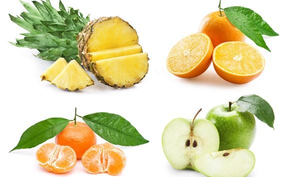 Wallpaper Oranges, apples, pineapple, white background