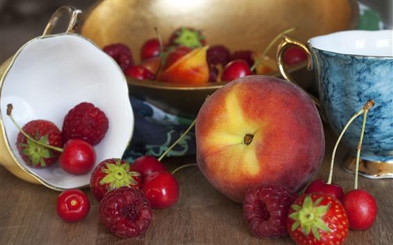 Wallpaper Peach, cherry, raspberry, fruit