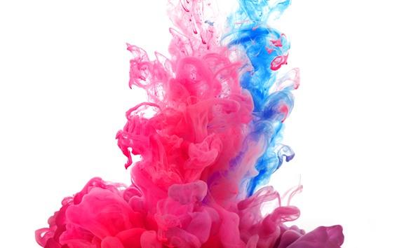 壁紙 ピンクとブルーの煙、ペンキ、白い背景