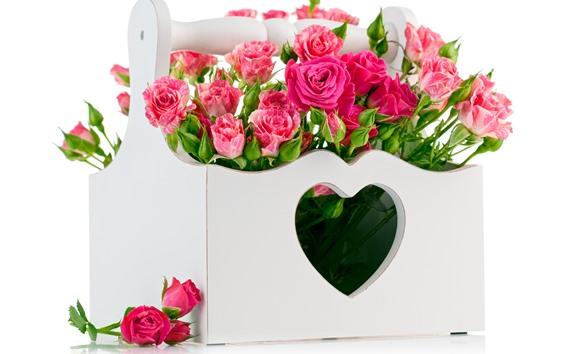 Wallpaper Pink roses, box, love heart