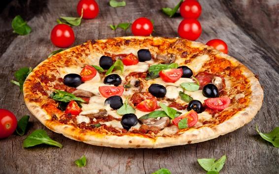 Обои Пицца, вкусная еда, помидоры