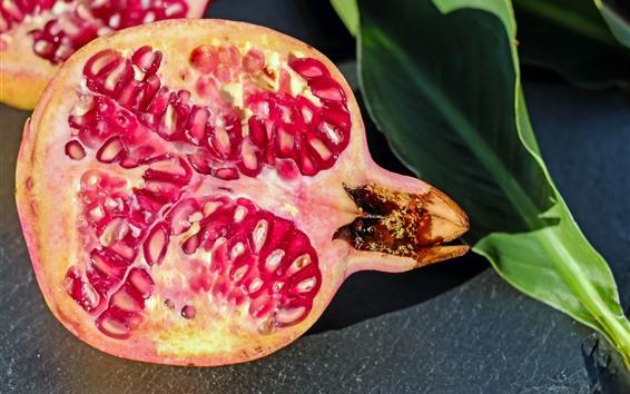 Wallpaper Pomegranate, fruit, green leaf