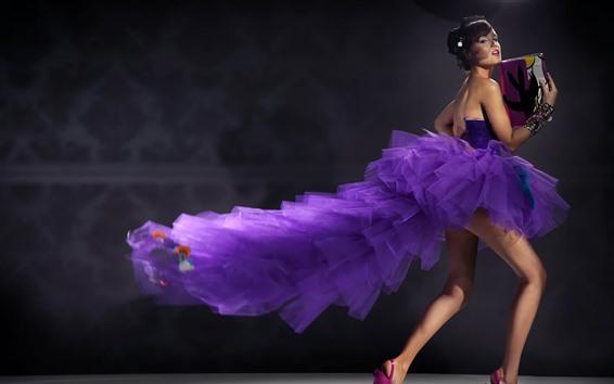Wallpaper Purple skirt girl, legs, sexy, handbag