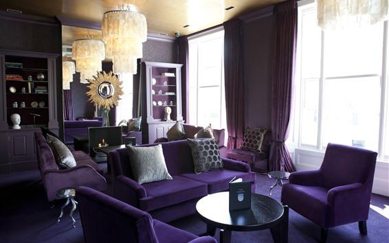 Обои Фиолетовая гостиная, диван, подсветка, окна