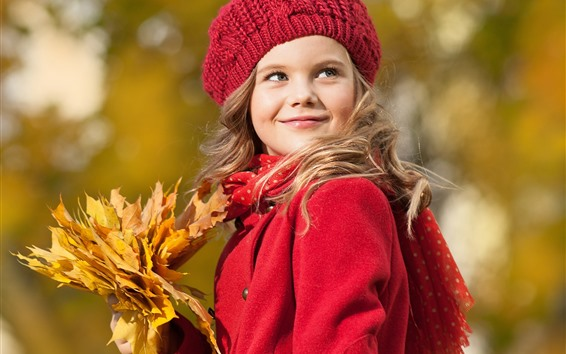 Wallpaper Red coat girl, smile, hat, maple leaves