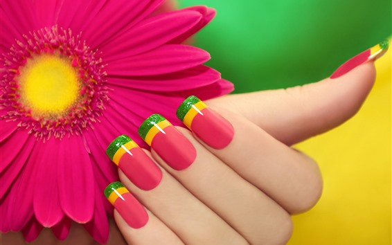 Wallpaper Red gerbera, petals, fingers, nails