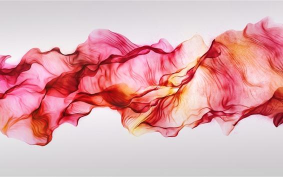 Обои Красные шелковые, летающие, абстрактные