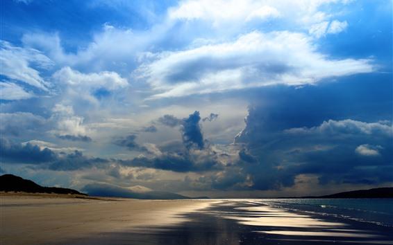 Fondos de pantalla Mar, playa, costa, cielo, nubes espesas, rayos de sol