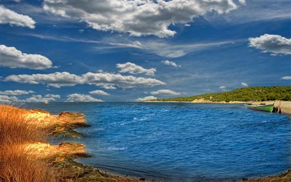 Fondos de pantalla Mar, barco, costa, cielo, nubes