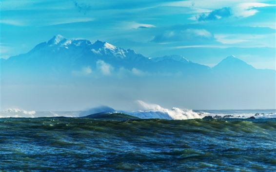 Fondos de pantalla Mar, agua, montañas, cielo, nubes