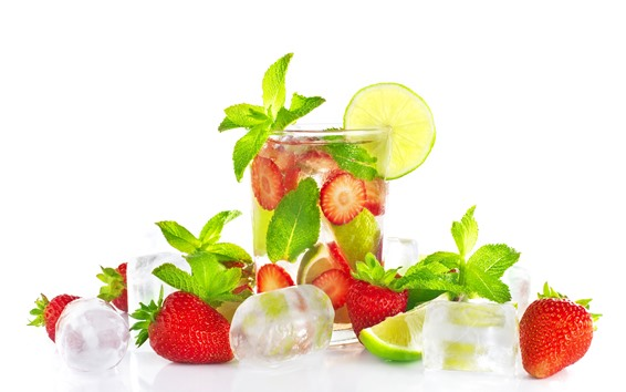 Wallpaper Summer drinks, lemon, strawberry, mint leaves, ice cubes, white background