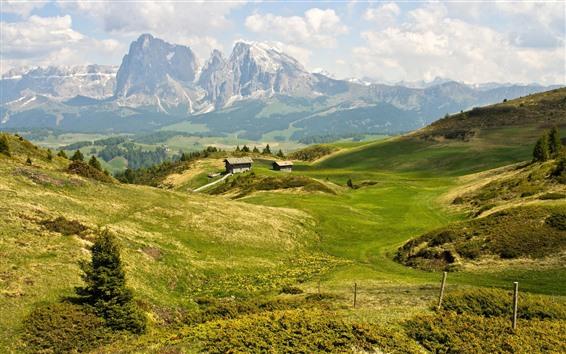Papéis de Parede Verão, montanhas, cabana, grama verde