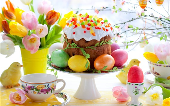 壁紙 チューリップ、ケーキ、カラフルな卵、イースター、カップ、小枝、春