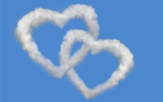 Wallpaper Two love heart, clouds, blue sky