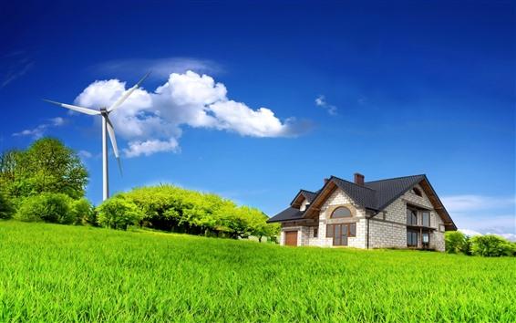 Обои Ветряная мельница, домик, зеленая трава, голубое небо, облака, лето