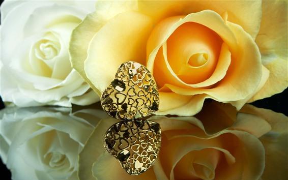 Fondos de pantalla Rosas amarillas, pétalos, corazón de amor