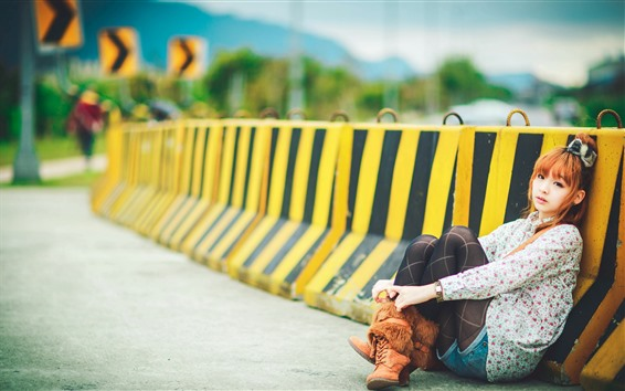 Wallpaper Young Asian girl, sit on the road