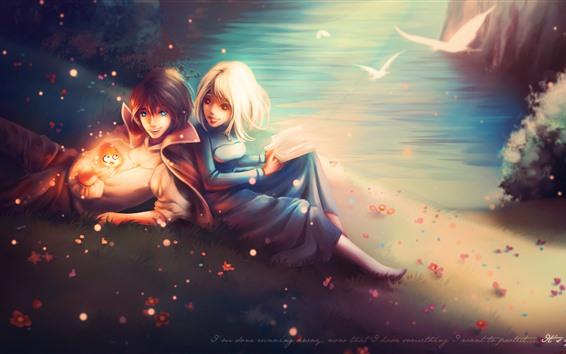 Hintergrundbilder Junge und Mädchen, glücklich, Buch, See, Vögel, Glanz, Kunstbild