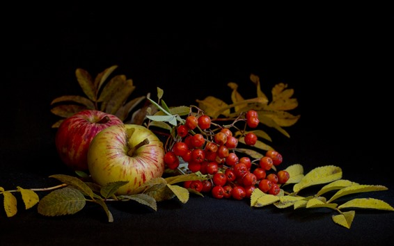 Wallpaper Apples and berries, black background