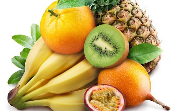 배경 화면 바나나, 키위, 오렌지, 파인애플, 과일, 흰색 배경