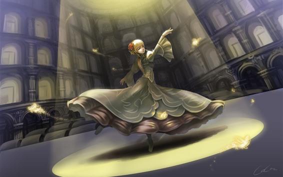Hintergrundbilder Schönes tanzendes Mädchen, Blondine, Fantasie, Kunstbild