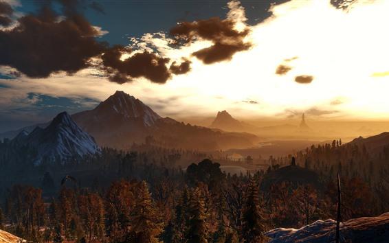 壁紙 美しい自然の風景、夕日、木、山、鳥、雲