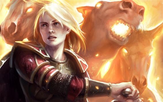 Fond d'écran Fille blonde, monstre, épée, photo d'art