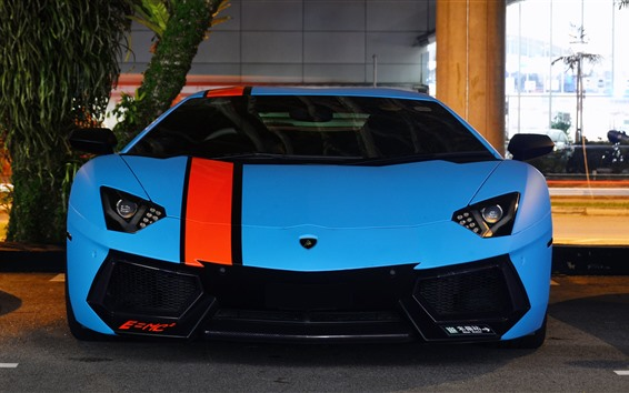 Wallpaper Blue Lamborghini LP700-4 front view, supercar