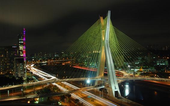 Wallpaper Brazil, night, bridge, city, lights