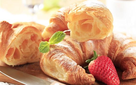 Обои Хлеб и клубника, завтрак