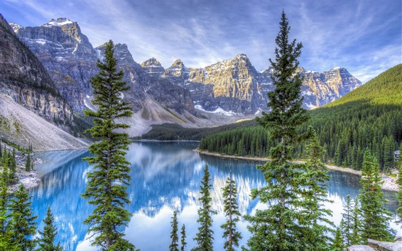 Обои Канада, озеро, деревья, горы, природа пейзаж