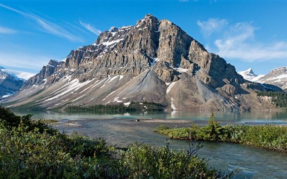 Hintergrundbilder Kanada, Berg, Fluss, Büsche, blauer Himmel