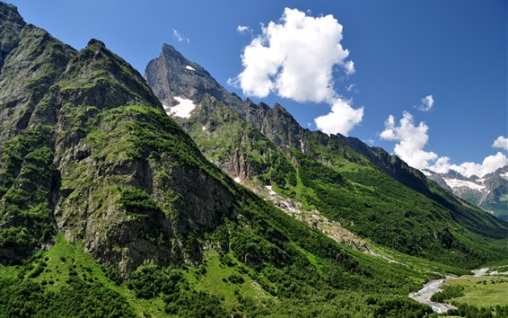 Wallpaper Caucasus, mountains, slope, green, sky, clouds